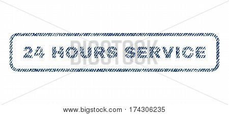 24 Hours Service text textile seal stamp watermark. Blue jeans fabric vectorized texture. Vector caption inside rounded rectangular shape. Rubber emblem with fiber textile structure.