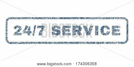 24-7 Service text textile seal stamp watermark. Blue jeans fabric vectorized texture. Vector tag inside rounded rectangular banner. Rubber sign with fiber textile structure.