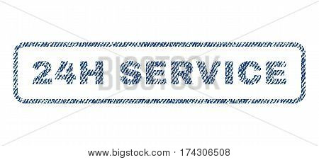 24H Service text textile seal stamp watermark. Blue jeans fabric vectorized texture. Vector tag inside rounded rectangular banner. Rubber sign with fiber textile structure.