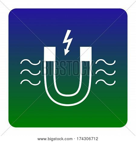 Magnet with magnetic force indication. Vector. White icon at green-blue gradient square with rounded corners on white background. Isolated.