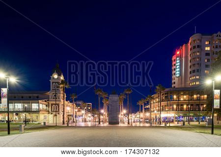 Adelaide Australia - August 22 2015: Moseley Square with Pioneer Memorial in the middle at night. Moseley Square is a public square in the City of Holdfast Bay. Long exposure camera settings