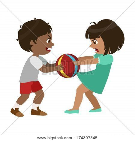 Boy Taking Away A Ball From A Girl, Part Of Bad Kids Behavior And Bullies Series Of Vector Illustrations With Characters Being Rude And Offensive. Schoolboy With Aggressive Behavior Acting Out And Offending Other Children..