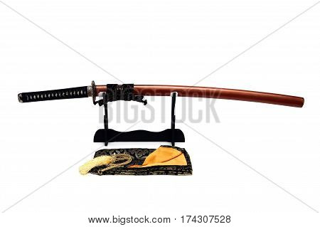 Japanese Sword On Stand With White Background