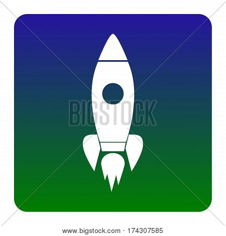 Rocket sign illustration. Vector. White icon at green-blue gradient square with rounded corners on white background. Isolated.
