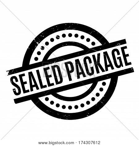 Sealed Package rubber stamp. Grunge design with dust scratches. Effects can be easily removed for a clean, crisp look. Color is easily changed.