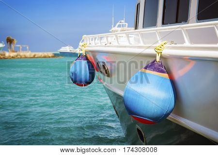 saving buoys on a boat's deck. Concept of safe sea walk.