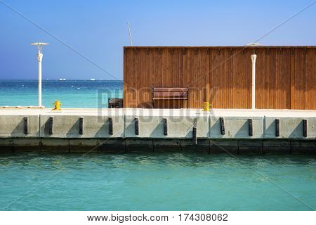 View of a pier with the vacation spot. Egipt