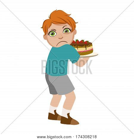 Greedy Boy Not Sharing Cake, Part Of Bad Kids Behavior And Bullies Series Of Vector Illustrations With Characters Being Rude And Offensive. Schoolboy With Aggressive Behavior Acting Out And Offending Other Children..