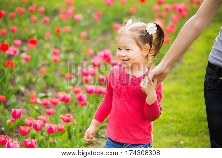Closeup portrait of happy family. Little funny girl of 4 years age walks along flowerbed of tulips holding hand of mommy in spring city park. Horizontal color photo.