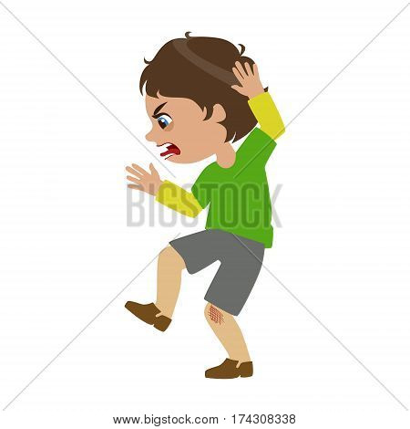 Boy Shouting And Swearing, Part Of Bad Kids Behavior And Bullies Series Of Vector Illustrations With Characters Being Rude And Offensive. Schoolboy With Aggressive Behavior Acting Out And Offending Other Children..