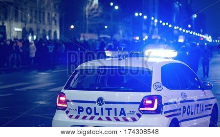 Bucharest Romania - January 29 2017: Thousand people marched through the Romanian capital on Wednesday night to protest the government's plan to pardon thousands of prisoners.