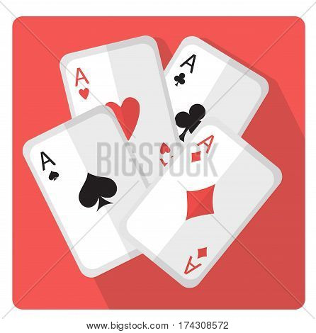 Playing cards with aces icon flat style with long shadows, isolated on white background. Vector illustration.