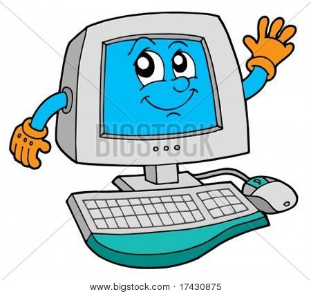 Cute computer on white background - vector illustration.