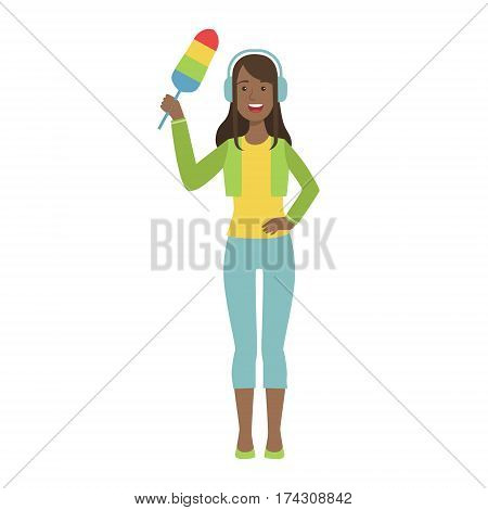 Girl In Headphones With Dust Brush, Cartoon Adult Characters Cleaning And Tiding Up. Smiling Person With House Cleanup Tool Doing Up Vector Illustration.