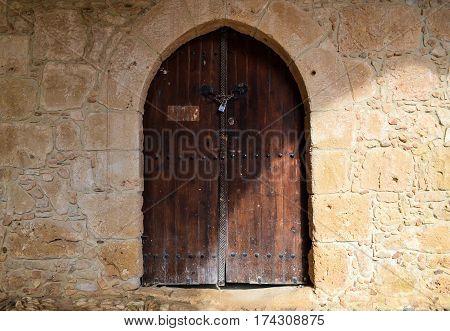 Closed old door in the castle Closed old door in the castle