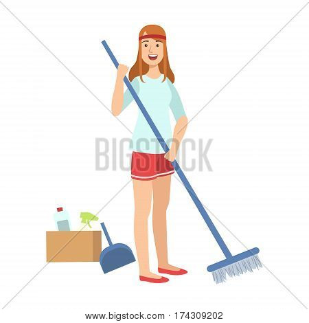 Woman Sweeping A Floor With Broom, Cartoon Adult Characters Cleaning And Tiding Up. Smiling Person With House Cleanup Tool Doing Up Vector Illustration.