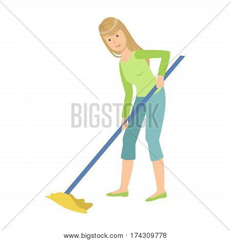 Woman Washing Floor With The Mop, Cartoon Adult Characters Cleaning And Tiding Up. Smiling Person With House Cleanup Tool Doing Up Vector Illustration.