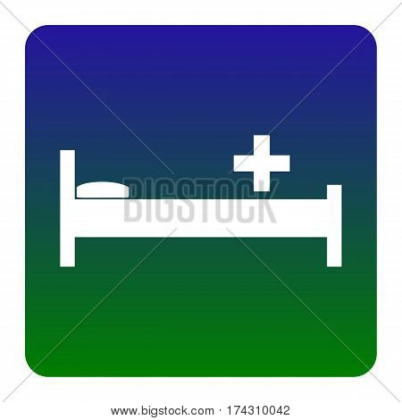 Hospital sign illustration. Vector. White icon at green-blue gradient square with rounded corners on white background. Isolated.
