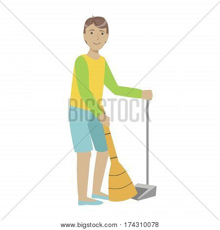 Guy With Broom And Duster Sweeping The Floor, Cartoon Adult Characters Cleaning And Tiding Up. Smiling Person With House Cleanup Tool Doing Up Vector Illustration.