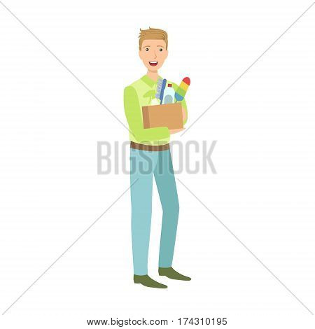 Man With Box Full Of Household Chemistry Product, Cartoon Adult Characters Cleaning And Tiding Up. Smiling Person With House Cleanup Tool Doing Up Vector Illustration.