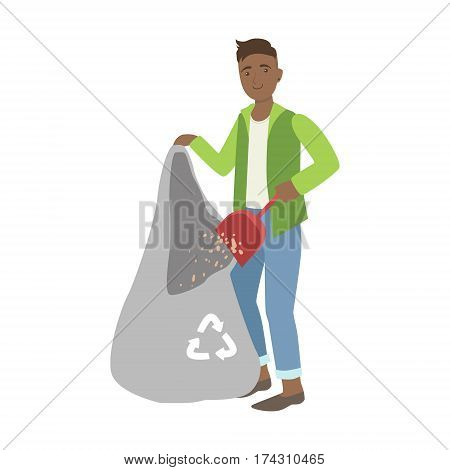 Man Throwing The Dust Into Trash Bag, Cartoon Adult Characters Cleaning And Tiding Up. Smiling Person With House Cleanup Tool Doing Up Vector Illustration.