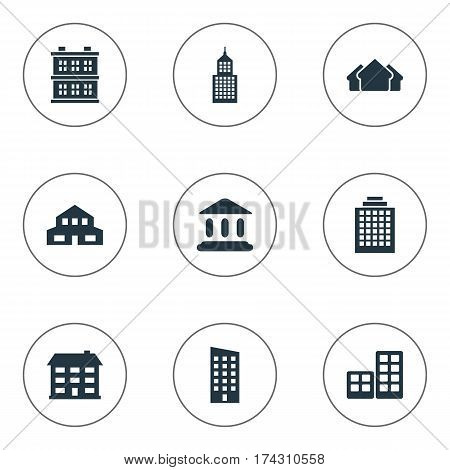 Set Of 9 Simple Structure Icons. Can Be Found Such Elements As Offices, Floor, Residential And Other.