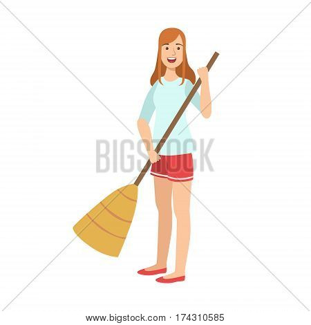 Woman Sweeping The Floor With Broom, Cartoon Adult Characters Cleaning And Tiding Up. Smiling Person With House Cleanup Tool Doing Up Vector Illustration.