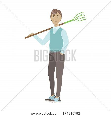 Man Holding Rake On His Shoulder, Cartoon Adult Characters Cleaning And Tiding Up. Smiling Person With House Cleanup Tool Doing Up Vector Illustration.