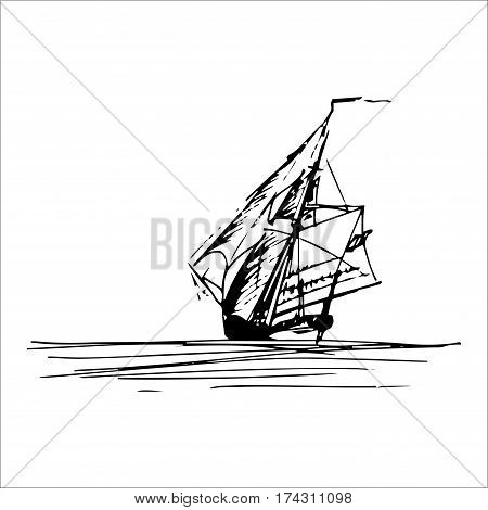 Sailing ship in the ocean in ink line style. Hand sketched schooner or sloop. Marine theme design