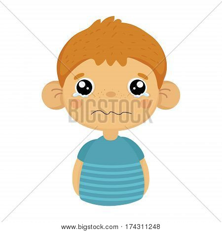 Tearful Upset Cute Small Boy With Big Ears In Blue T-shirt, Emoji Portrait Of A Male Child With Emotional Facial Expression. Emoticon With Little Kid Cartoon Character In Childish Style Isolated Icon.