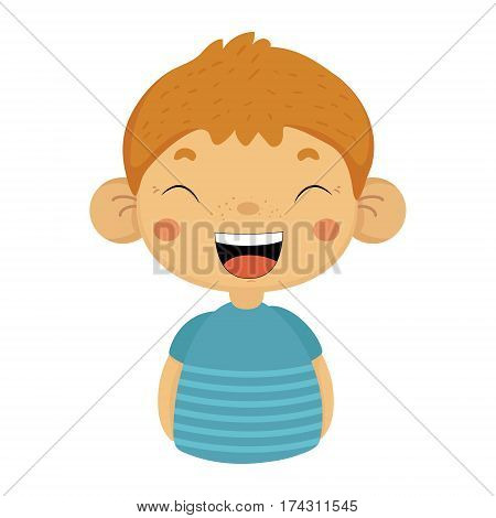 Laughing Out Loud Cute Small Boy With Big Ears In Blue T-shirt, Emoji Portrait Of A Male Child With Emotional Facial Expression. Emoticon With Little Kid Cartoon Character In Childish Style Isolated Icon.