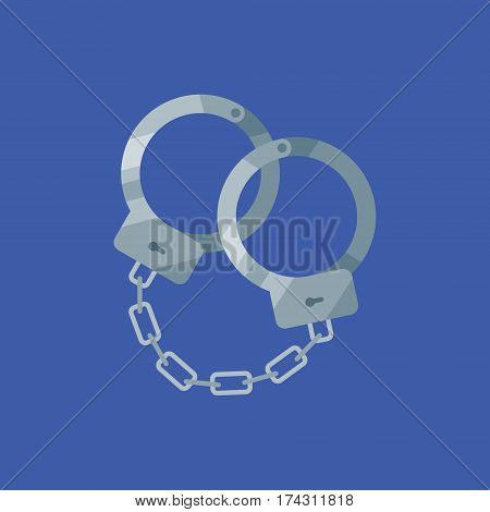 Handcuffs isolated on blue background. Flat style icon. Vector illustration.