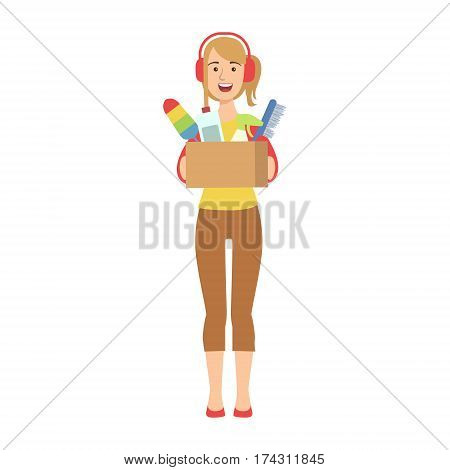 Woman In Headset Holding Box Of Household Chemicals, Cartoon Adult Characters Cleaning And Tiding Up. Smiling Person With House Cleanup Tool Doing Up Vector Illustration.