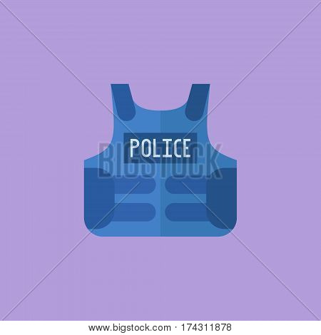 Police bulletproof vest isolated on purple background. Flat style icon. Vector illustration.