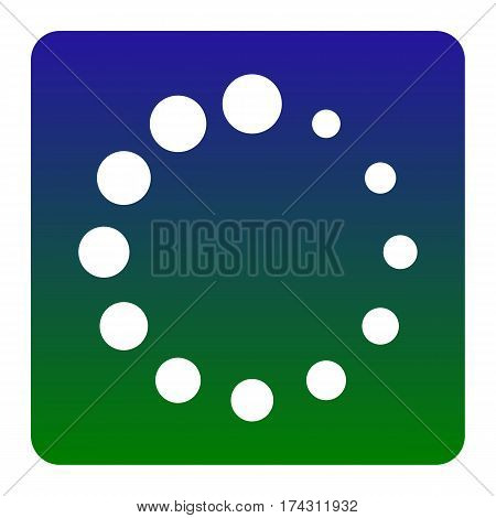 Circular loading sign. Vector. White icon at green-blue gradient square with rounded corners on white background. Isolated.