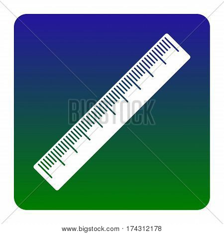 Centimeter ruler sign. Vector. White icon at green-blue gradient square with rounded corners on white background. Isolated.
