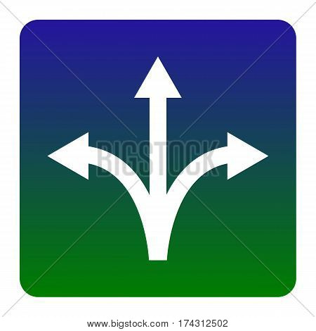Three-way direction arrow sign. Vector. White icon at green-blue gradient square with rounded corners on white background. Isolated.