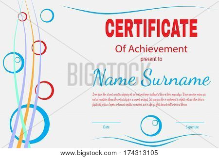 Certificate of achievement template in vector. Light-gray tone. Vector illustration