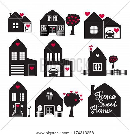 Set Vector illustration. Home Sweet Home. Building of private houses on the street. Black silhouette isolated white background.