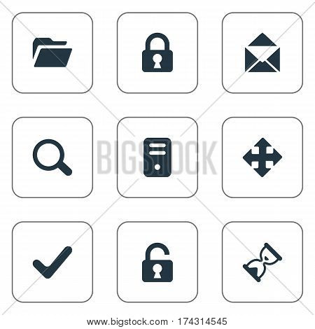 Set Of 9 Simple Apps Icons. Can Be Found Such Elements As Magnifier, Check, Dossier And Other.
