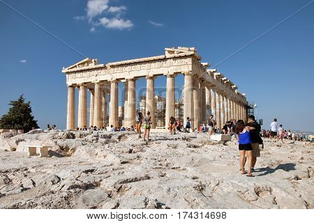 Athens Greece - August 31 2014: Parthenon on the Acropolis in Athens Greece with a blue sky
