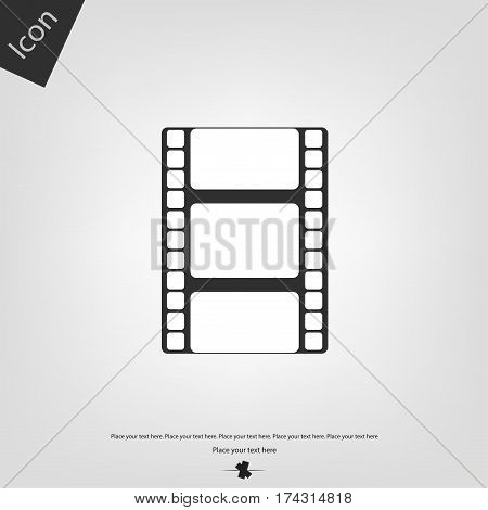 Movie film strip vector icon, gray background. Vector illustration.