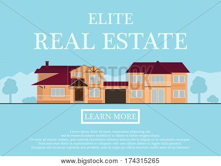 Vector illustration of cute house for rent or sale in flat building style. background with blue pastel colors. country views with trees and shrubs. Banner for a website selling luxury real estate. vector illustration.