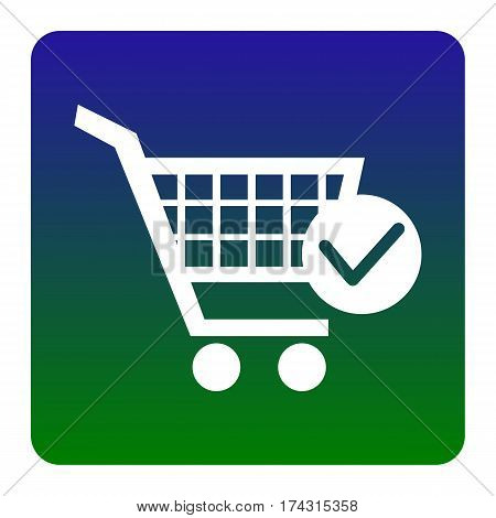 Shopping Cart with Check Mark sign. Vector. White icon at green-blue gradient square with rounded corners on white background. Isolated.