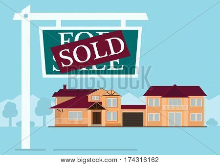 Sold sign in front of cute house in flat building style. background with blue pastel colors. country views with trees and shrubs. real estate purchase. vector illustration