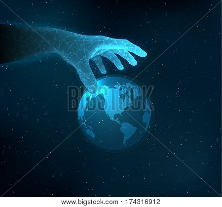 Shiny blue technology vector background with hand reaching for the hologram globe.