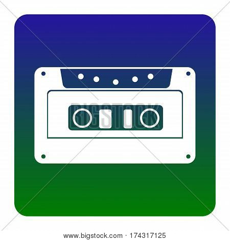 Cassette icon, audio tape sign. Vector. White icon at green-blue gradient square with rounded corners on white background. Isolated.