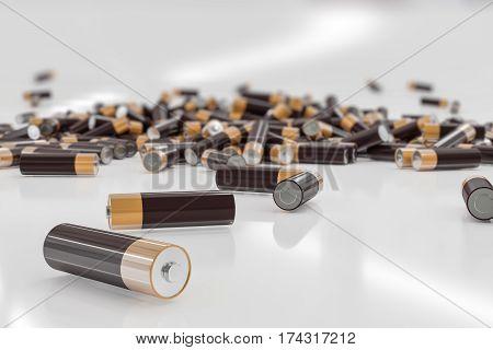 3D Rendered Illustration Of Many Alkaline Batteries.