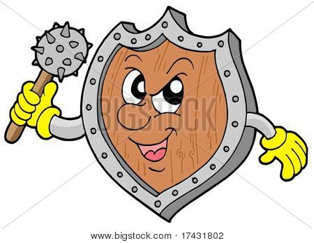 Angry shield warrior with mace - vector illustration.