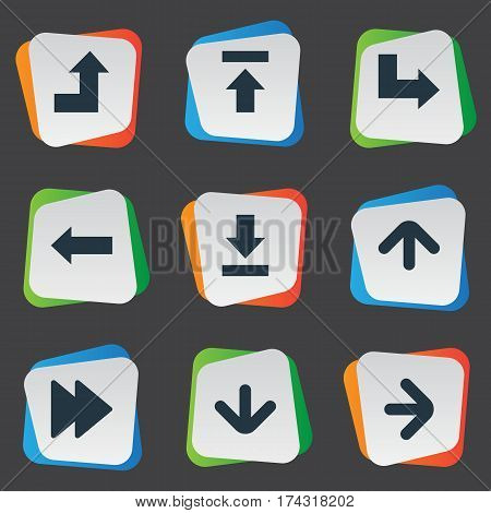 Set Of 9 Simple Indicator Icons. Can Be Found Such Elements As Upward Direction, Transfer, Let Down And Other.